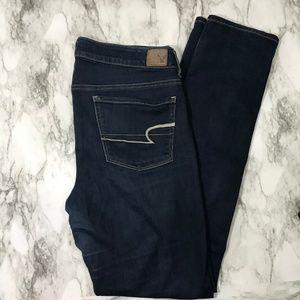 American Eagle Dark Wash Skinny Jeans Size 12 Long